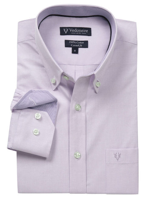 Vedoneire Oxford Cotton Casual Shirt - Lilac