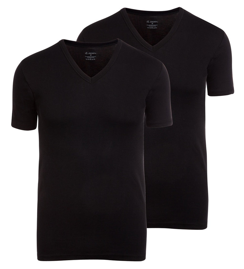 Jockey Modern Classic V-Neck T-Shirt 2-Pack Black