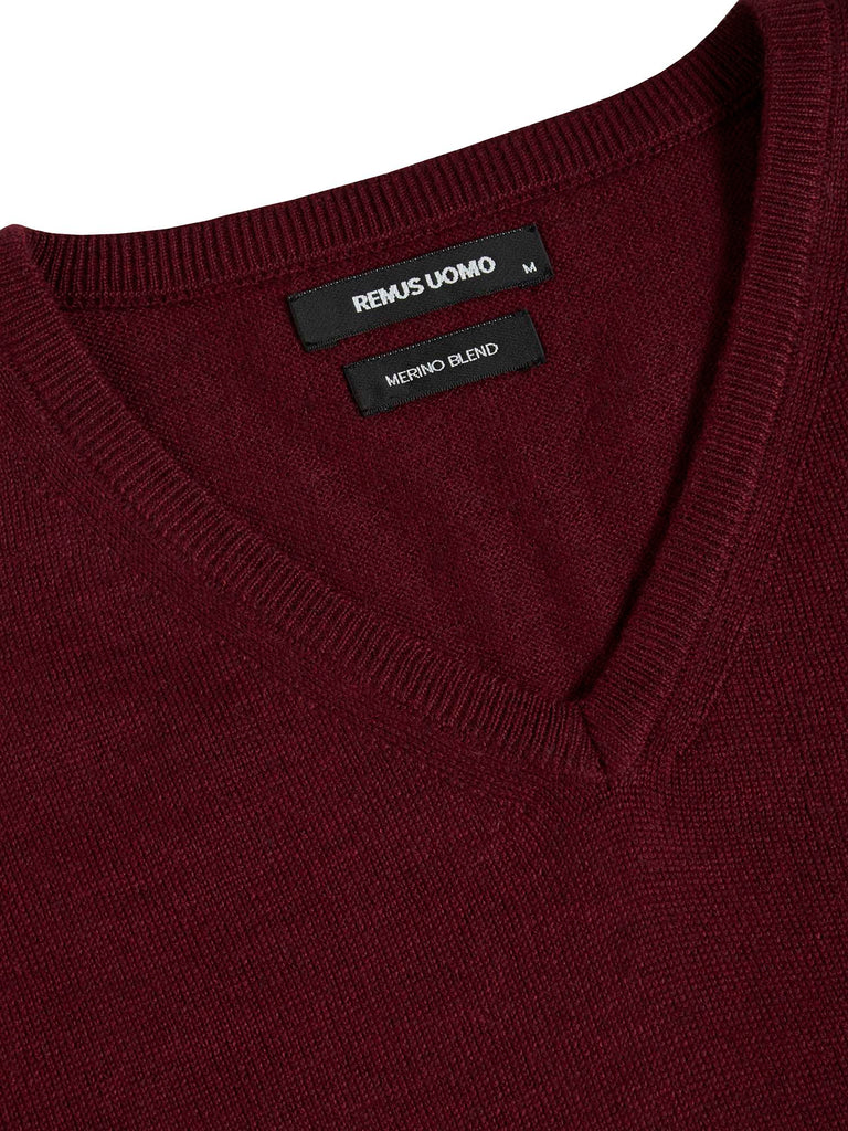 Remus Uomo Tapered Fit Wool Blend Jumper - Mulberry