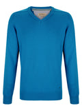 Drifter V-Neck Cotton Blend Pullover - Bright Blue