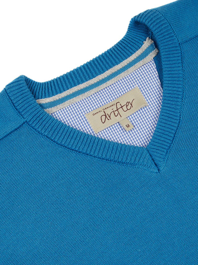 DG's Drifter V-Neck Cotton Blend Jumper - Bright Blue
