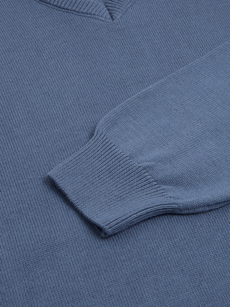 DG's Drifter V-Neck Cotton Blend Jumper - Denim Blue