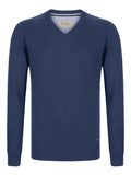 Drifter V-Neck Cotton Blend Pullover - Dark Blue