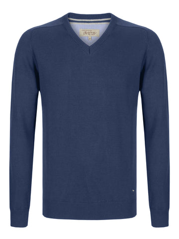 Drifter V-Neck Cotton Blend Pullover - Red