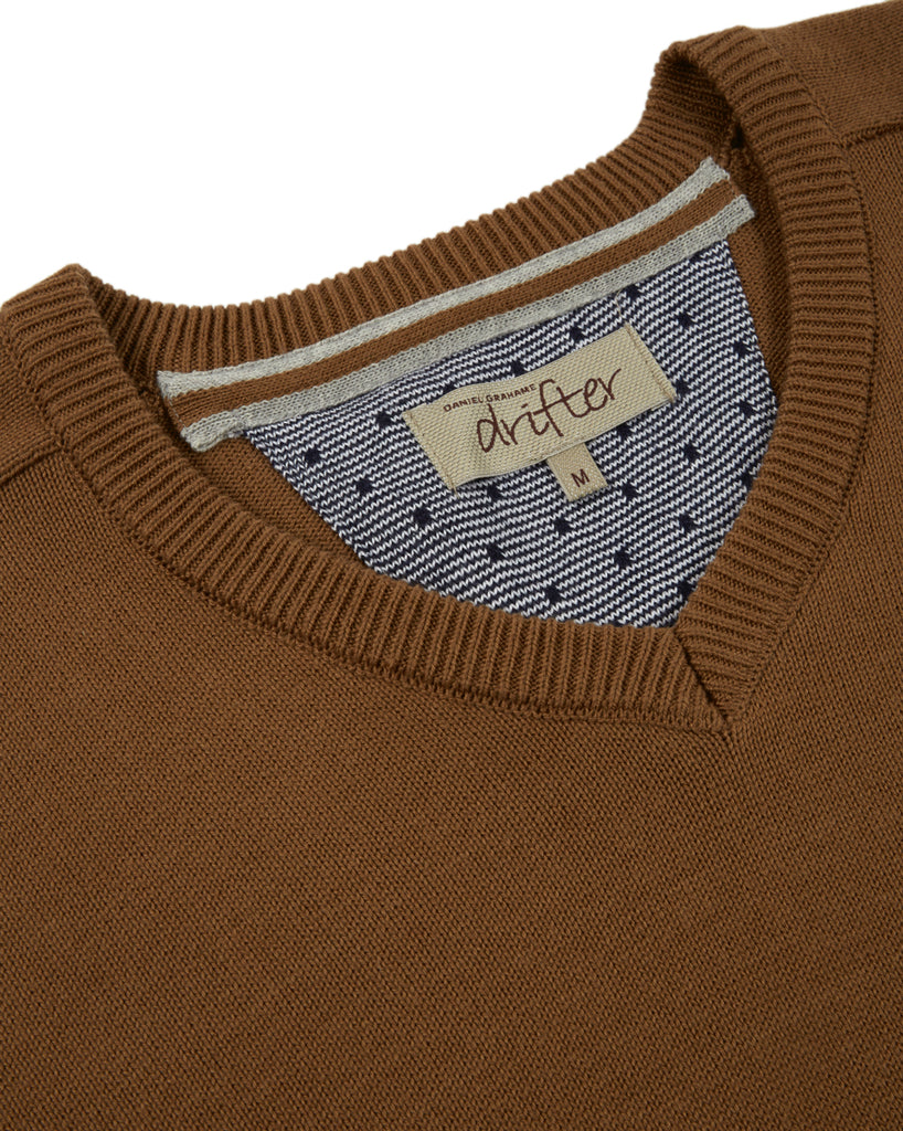 Drifter V-Neck Cotton Blend Pullover - Tan