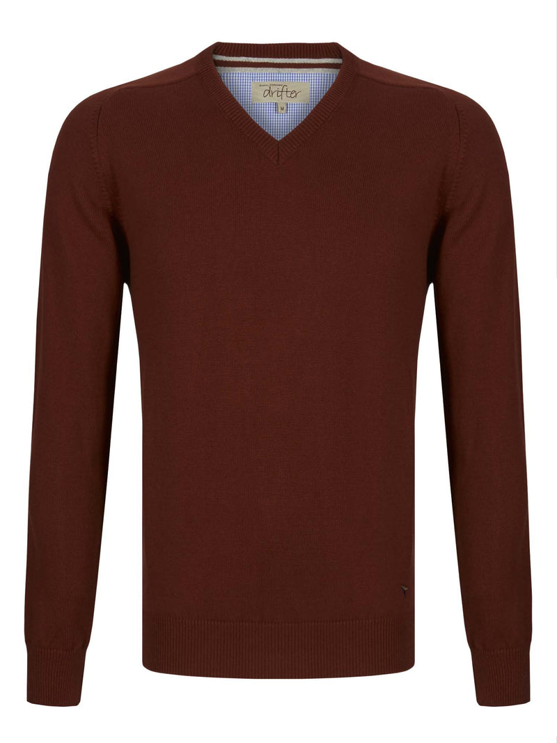 DG's Drifter V-Neck Cotton Blend Jumper - Rust