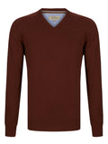 Drifter V-Neck Cotton Blend Pullover - Rust