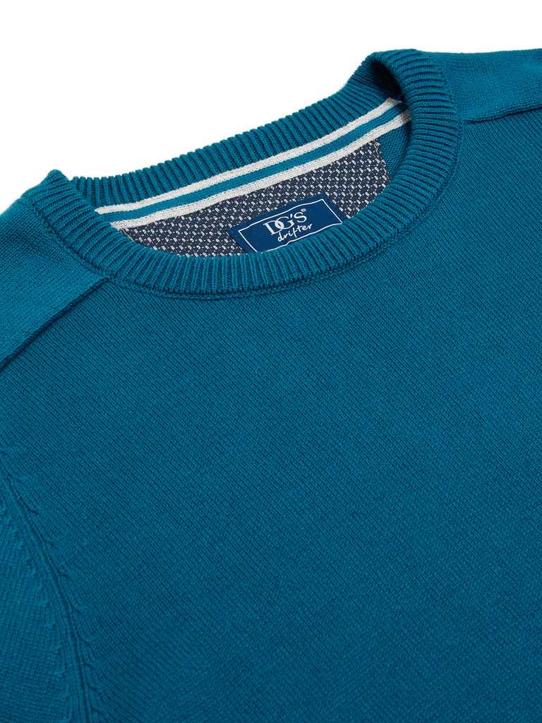 DG's Drifter Round Neck Cotton Blend Pullover - Teal Blue