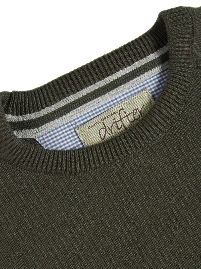 DG's Drifter Round Neck Cotton Blend Jumper - Olive Green