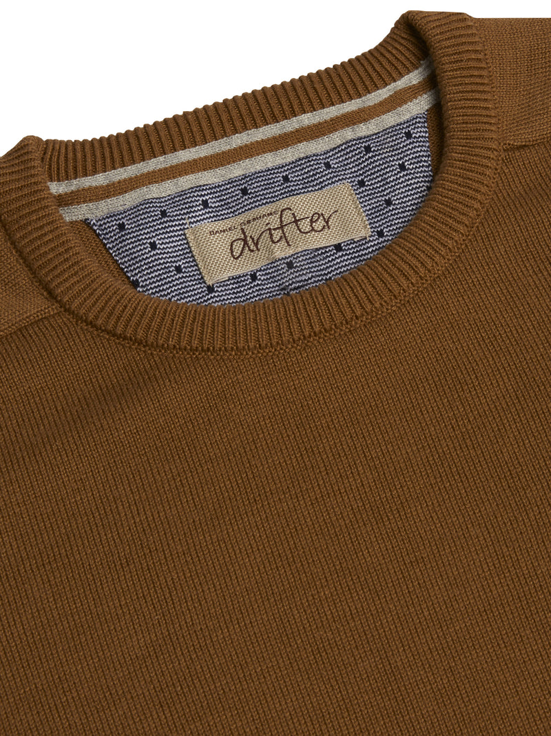 DG's Drifter Round Neck Cotton Blend Jumper - Tan