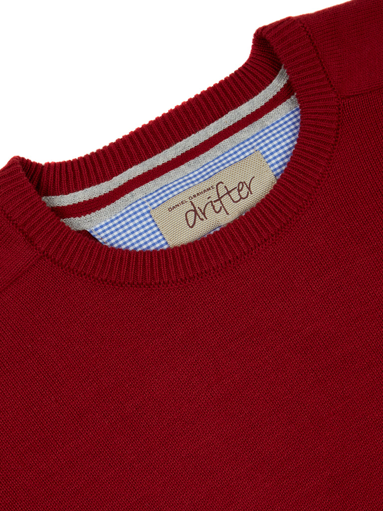 Drifter Round Neck Cotton Blend Pullover - Red