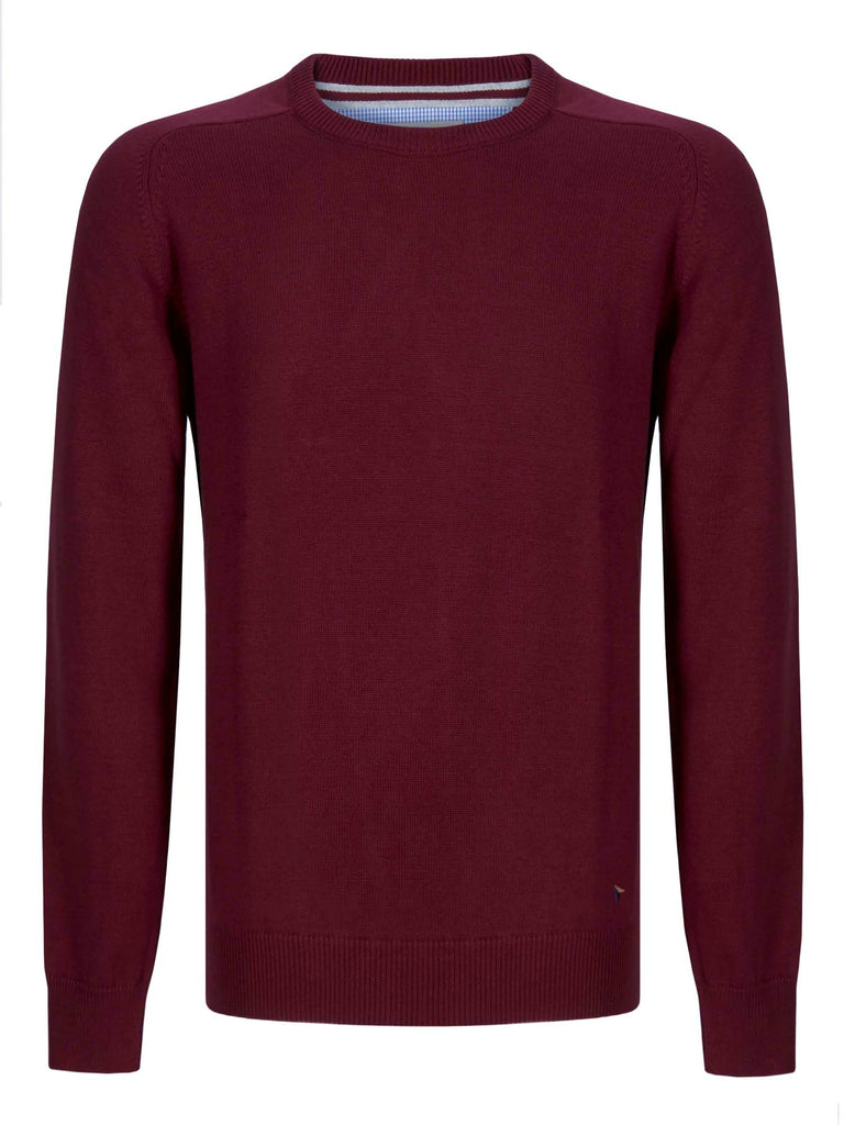 Drifter Round Neck Cotton Blend Pullover - Wine