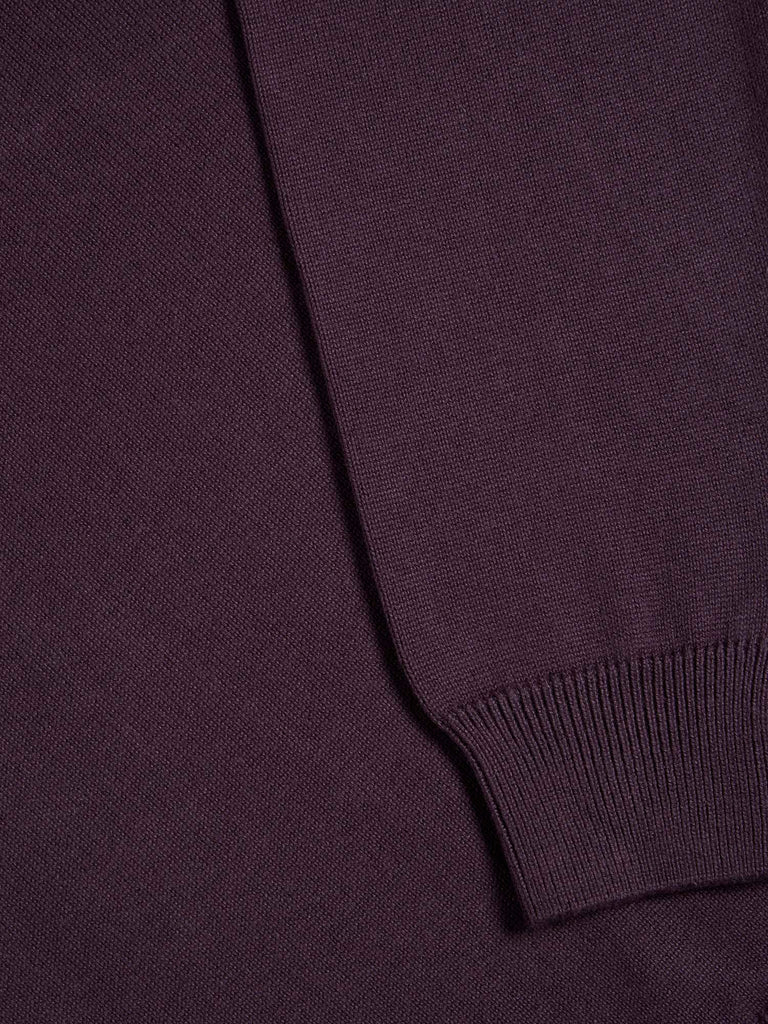 Drifter Round Neck Cotton Blend Pullover - Dark Purple