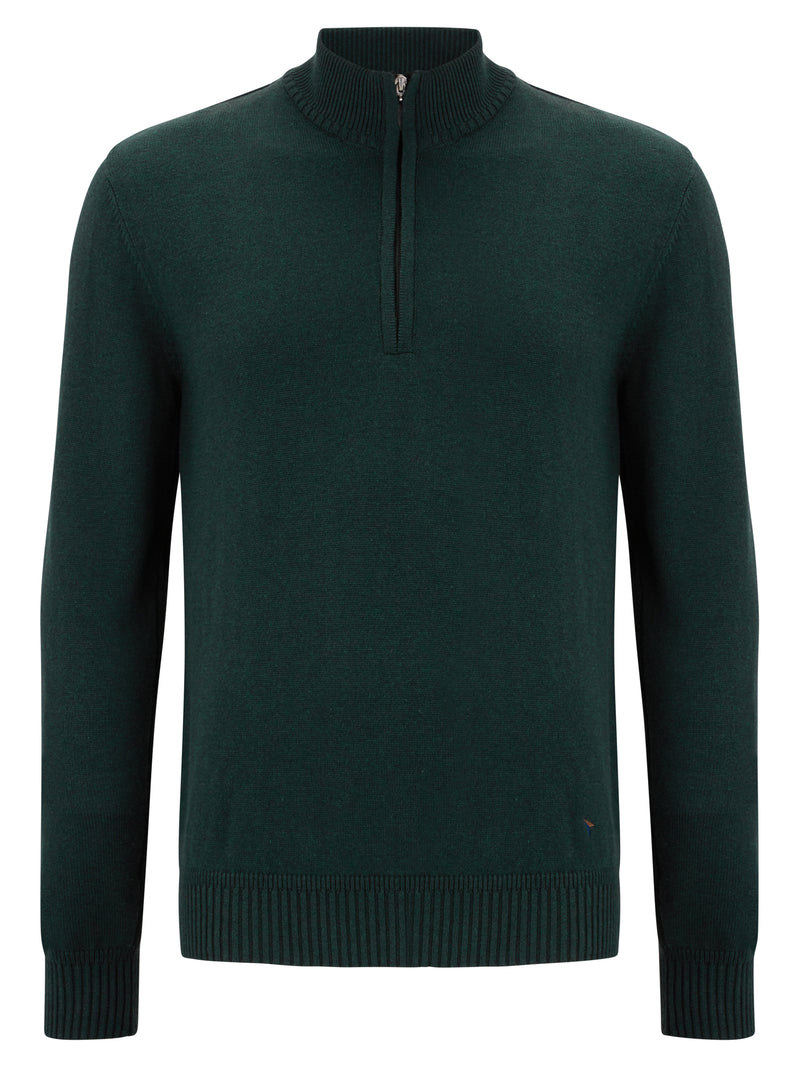 DG's Drifter Zip Neck Cotton Blend Jumper - Green