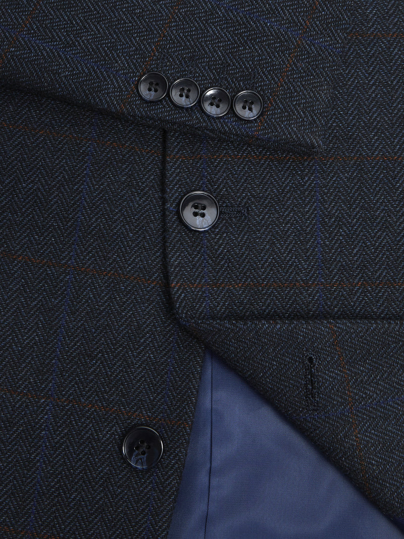 Wellington Herringbone Overcheck Jacket - Navy