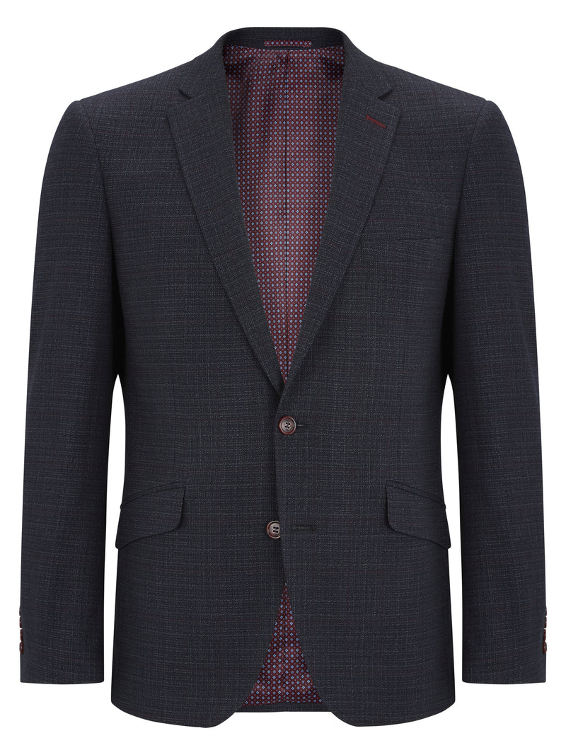 Daniel Grahame Wool Blend Check Jacket - Navy