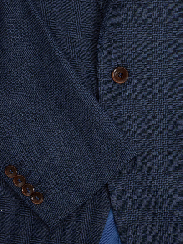 Daniel Grahame Tapered Fit 3 Piece Check Suit - Blue