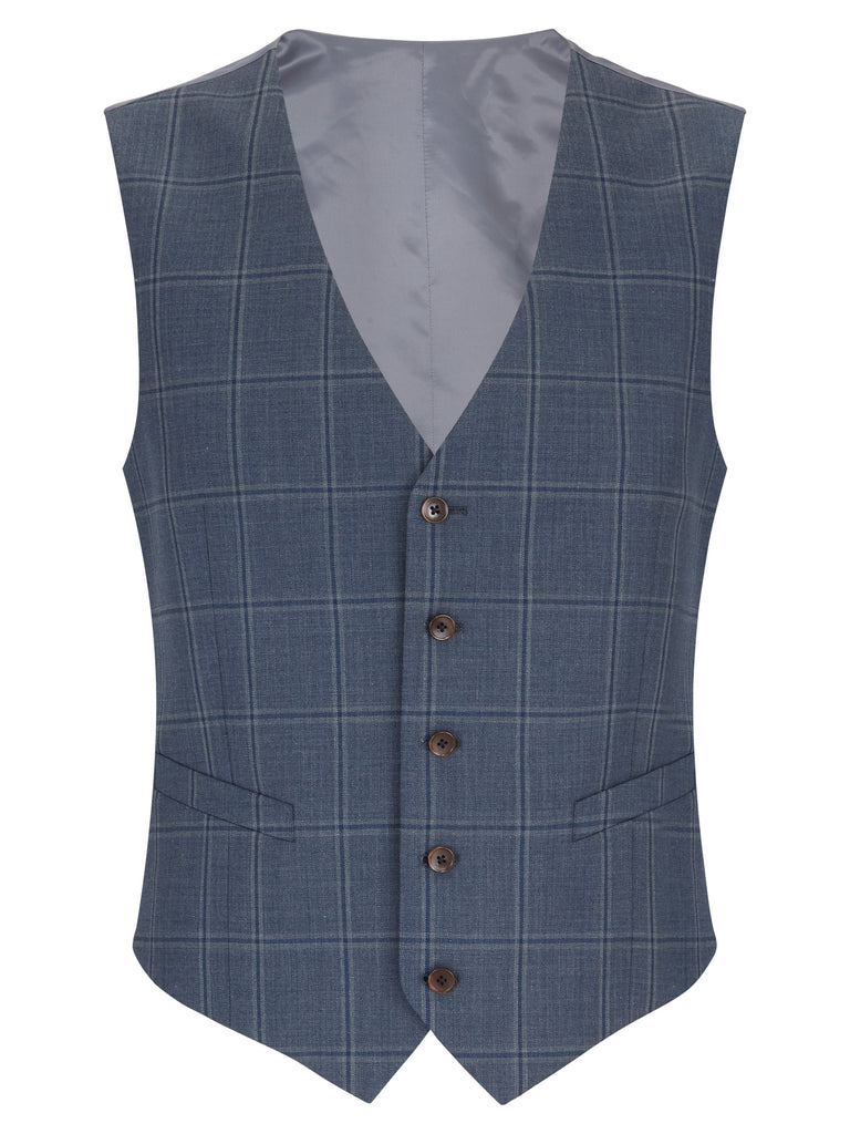 Daniel Grahame Tapered Fit Mix & Match Suit Waistcoat - Blue Check