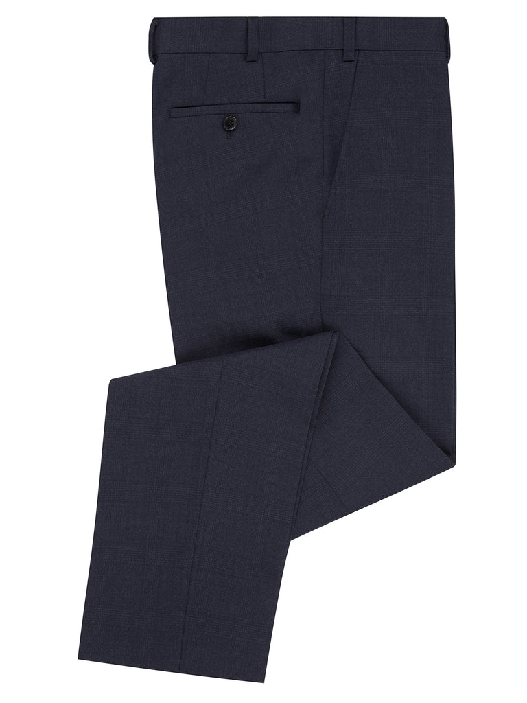 Daniel Grahame Tapered Fit Mix & Match Suit Trousers - Dark Blue Check