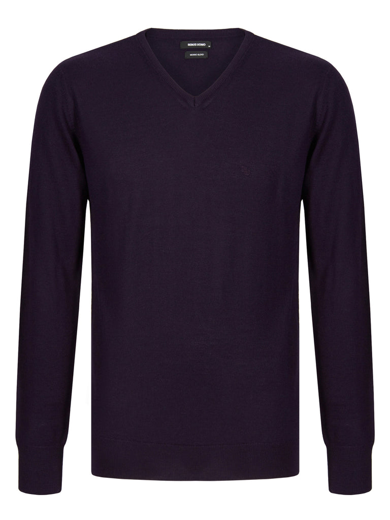 Remus Uomo Tapered Fit Wool Blend Jumper - Purple