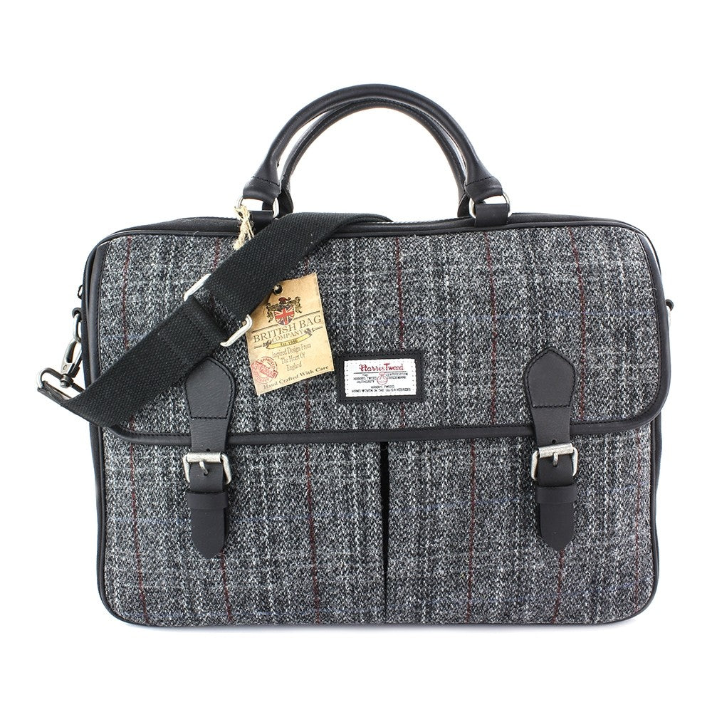 British Bag Company Berneray Large Harris Tweed/Leather Briefcase