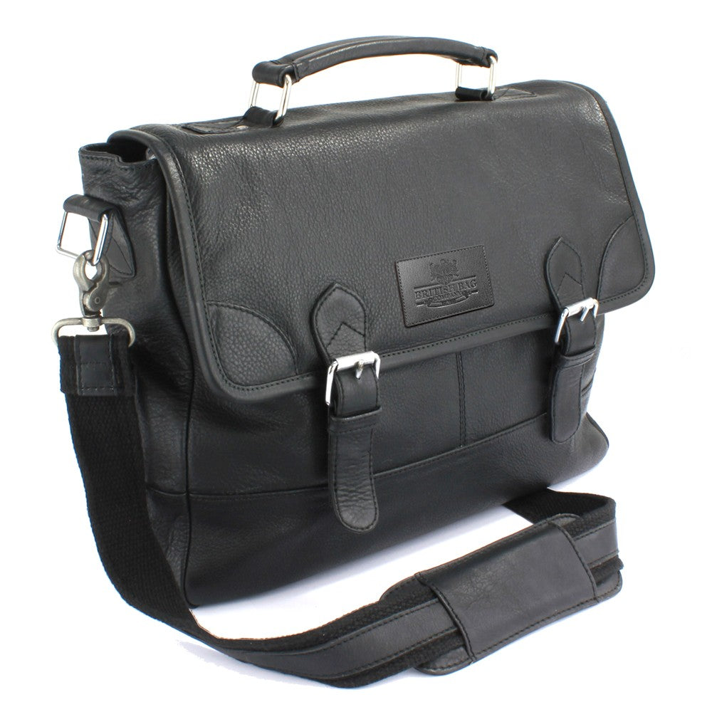 British Bag Company Rutland Black Leather Briefcase