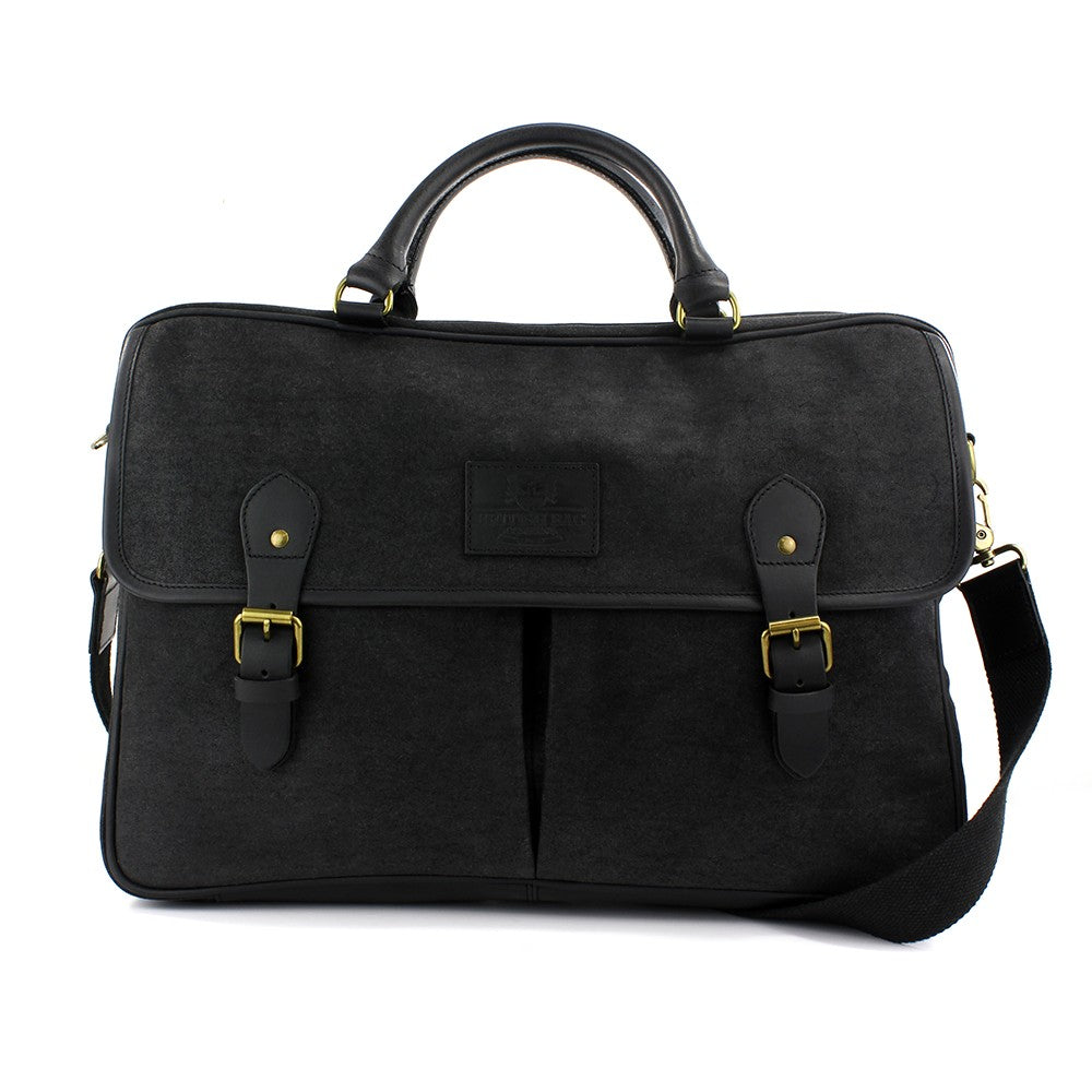 British Bag Company Navigator Waxed Canvas Briefcase - Black