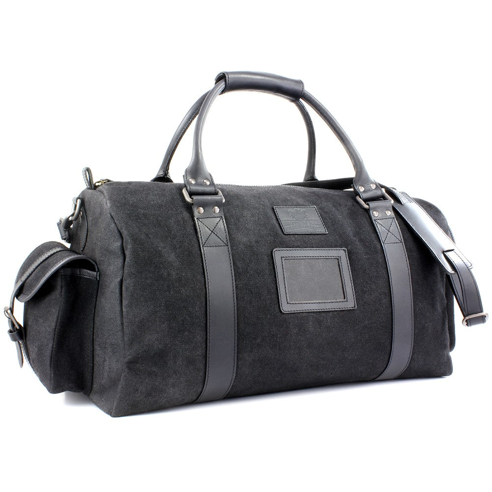 British Bag Company Navigator Waxed Canvas Holdall - Black