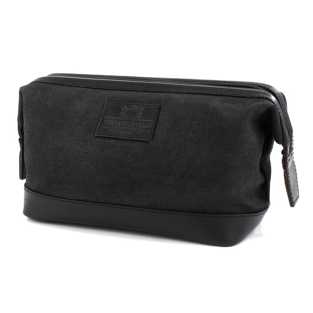British Bag Company Navigator Waxed Canvas/Leather Washbag - Black