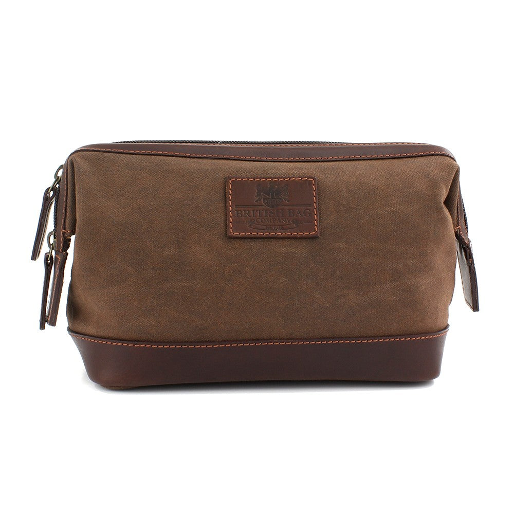 British Bag Company Navigator Waxed Canvas/Leather Washbag - Brown