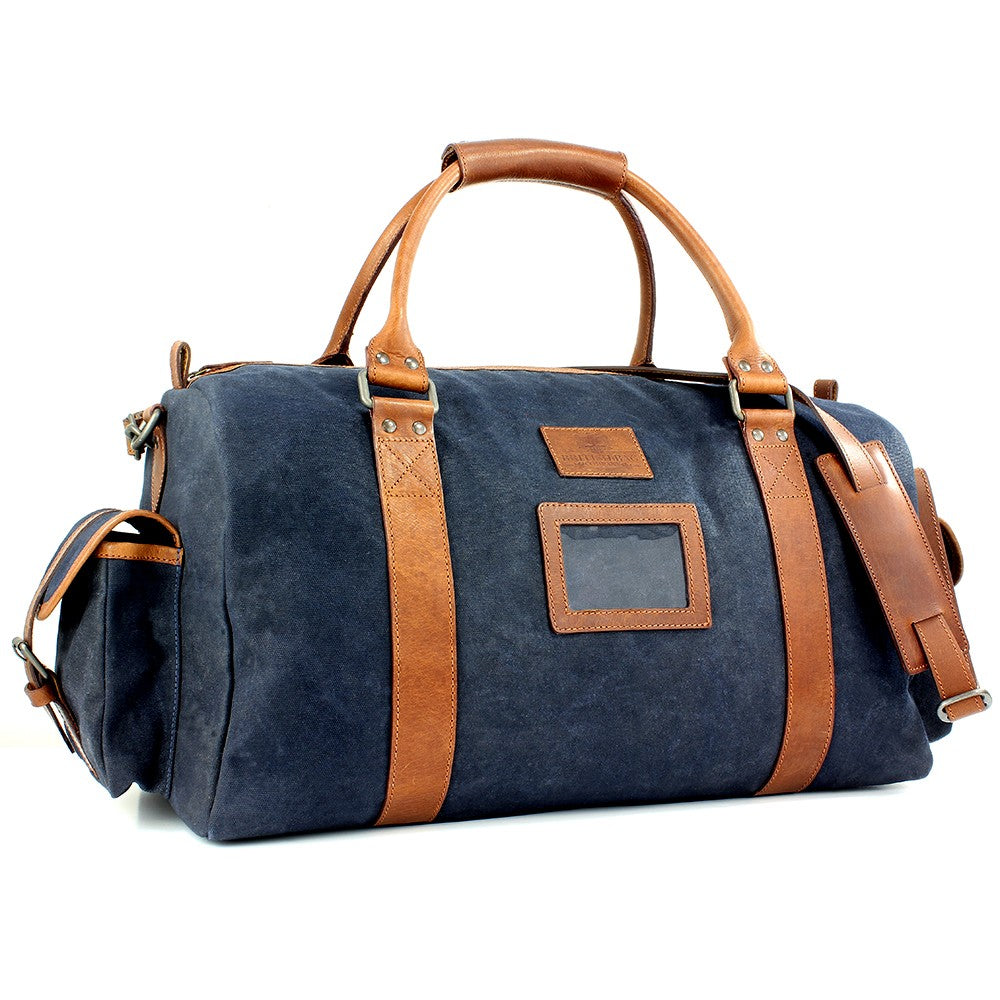 British Bag Company Navigator Waxed Canvas Holdall - Navy