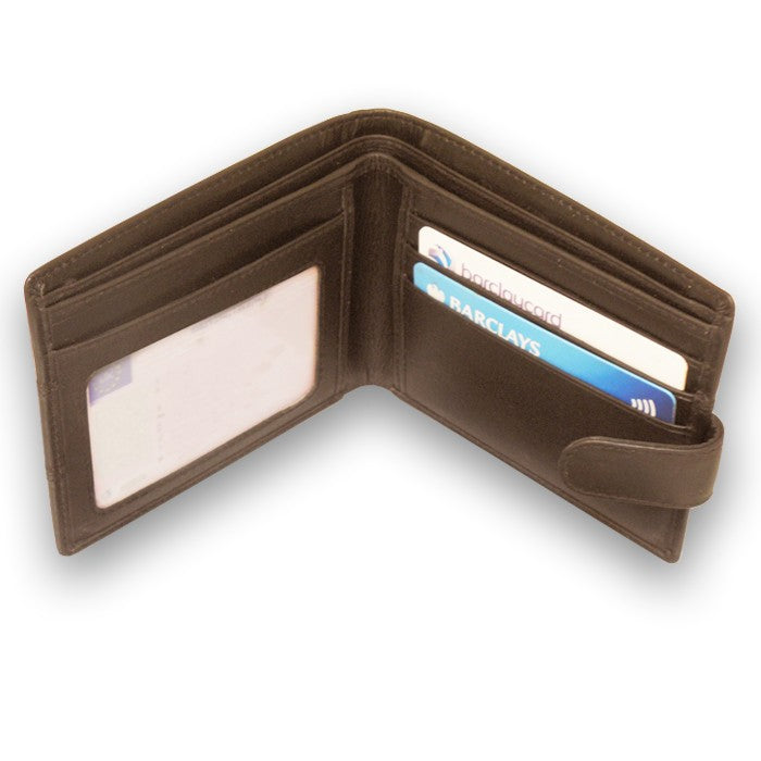 Sophos Brown Leather Tab Wallet With Stitch Detail