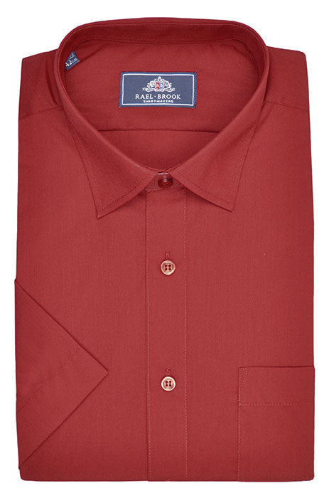 Rael Brook Short Sleeve Plain Shirt - Wine