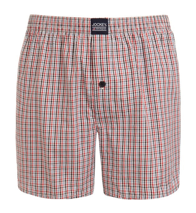 Jockey Woven Boxer Red Navy Blue Check Stripe 2 Pack