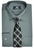 Rael Brook Plain Shirt & Tie Set - Charcoal