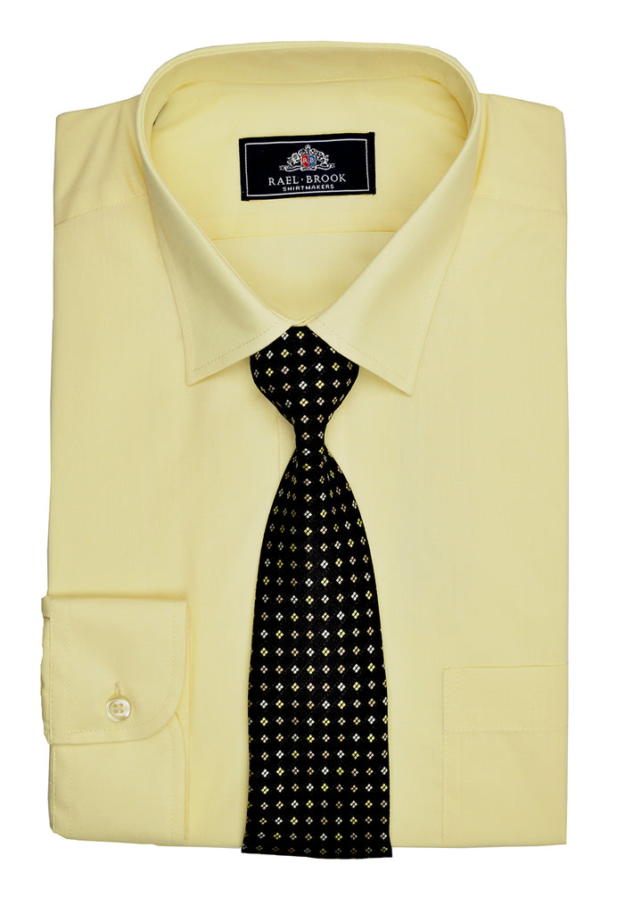 Rael Brook Plain Shirt & Tie Set - Lemon