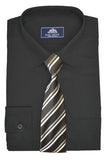 Rael Brook Plain Shirt & Tie Set - Black