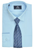 Rael Brook Plain Shirt & Tie Set - Sky Blue