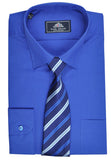 Rael Brook Plain Shirt & Tie Set - Royal Blue