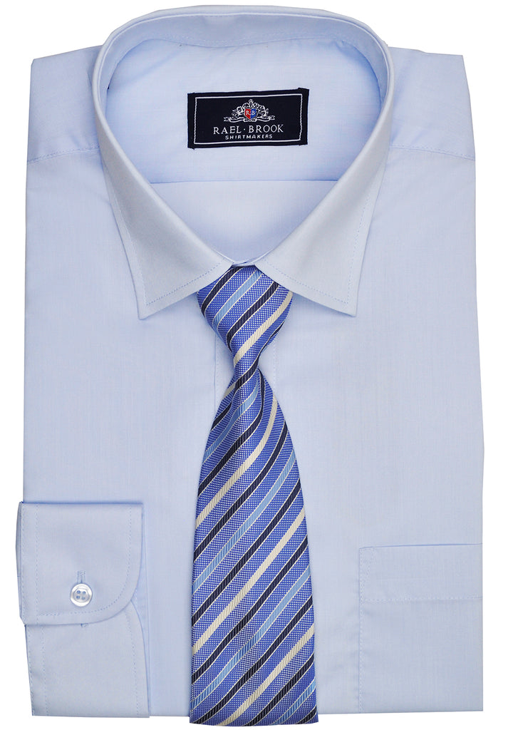 Rael Brook Plain Shirt & Tie Set - Light Blue