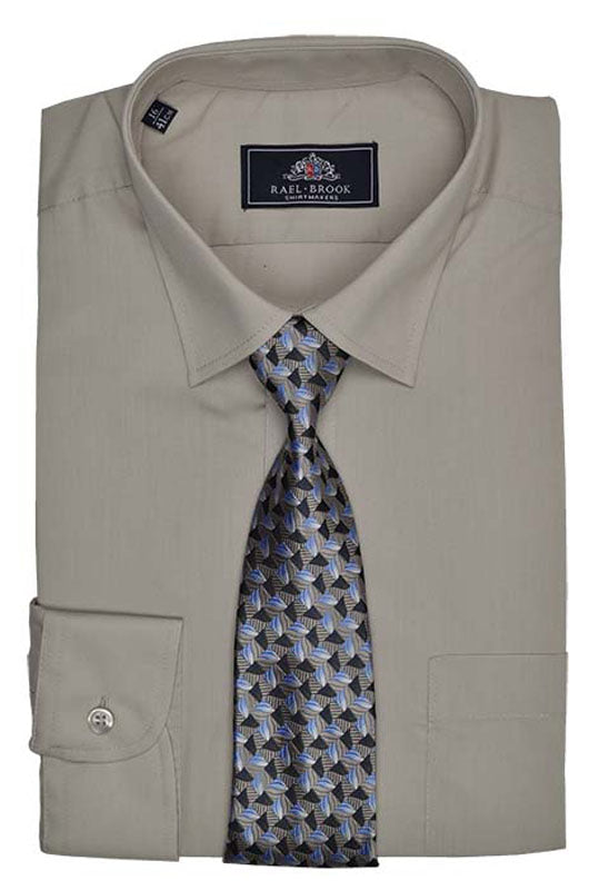 Rael Brook Plain Shirt & Tie Set - Beige