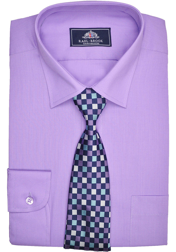 Rael Brook Plain Shirt & Tie Set - Purple