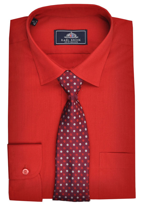 Rael Brook Plain Shirt & Tie Set - Red