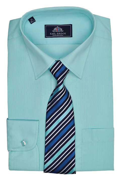 Rael Brook Plain Shirt & Tie Set - Cyan