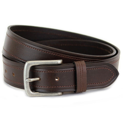 Sophos 40mm Full Grain Leather Burnished Edge Jeans Belt - Black