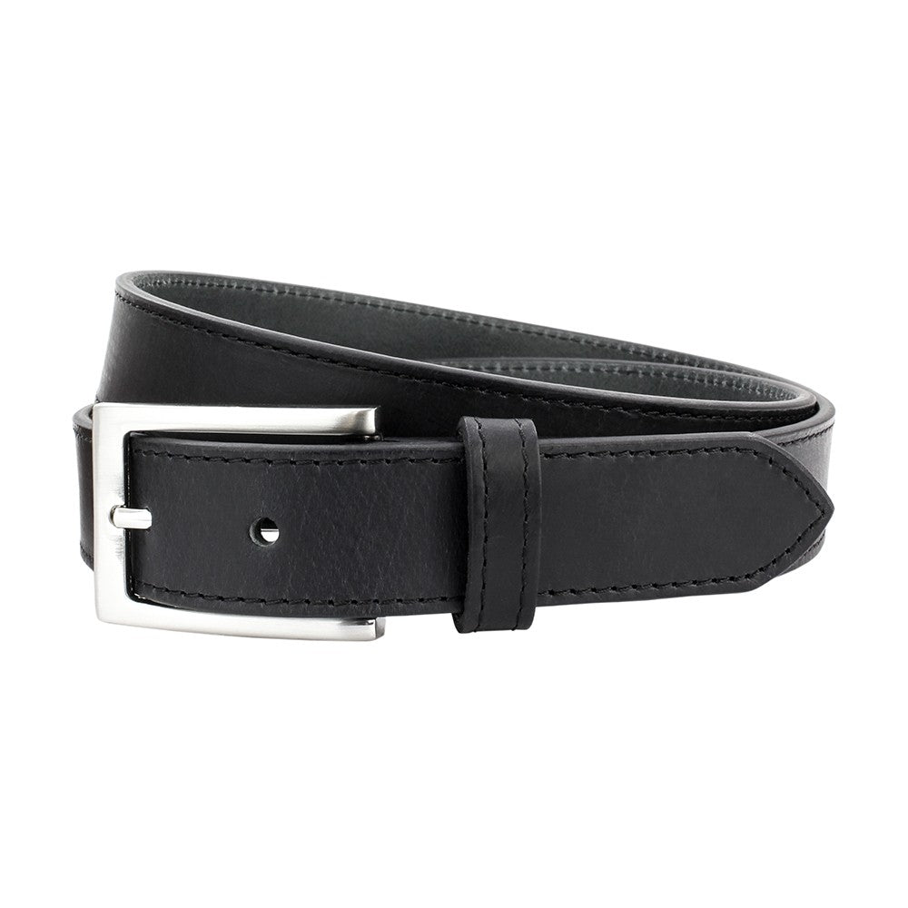Sophos 30mm Stitched Edge Leather Belt - Black