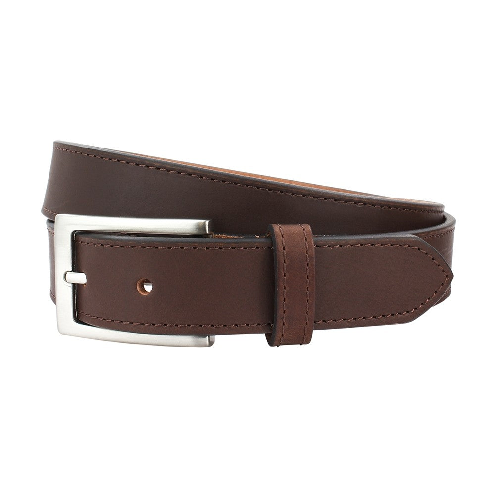 Sophos 30mm Stitched Edge Leather Belt - Brown