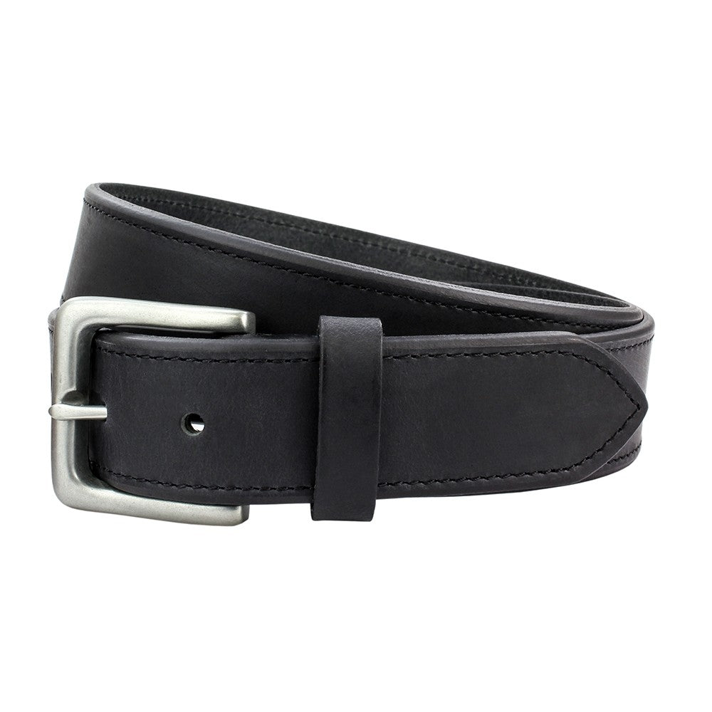Sophos 35mm Stitched Edge Leather Belt - Black