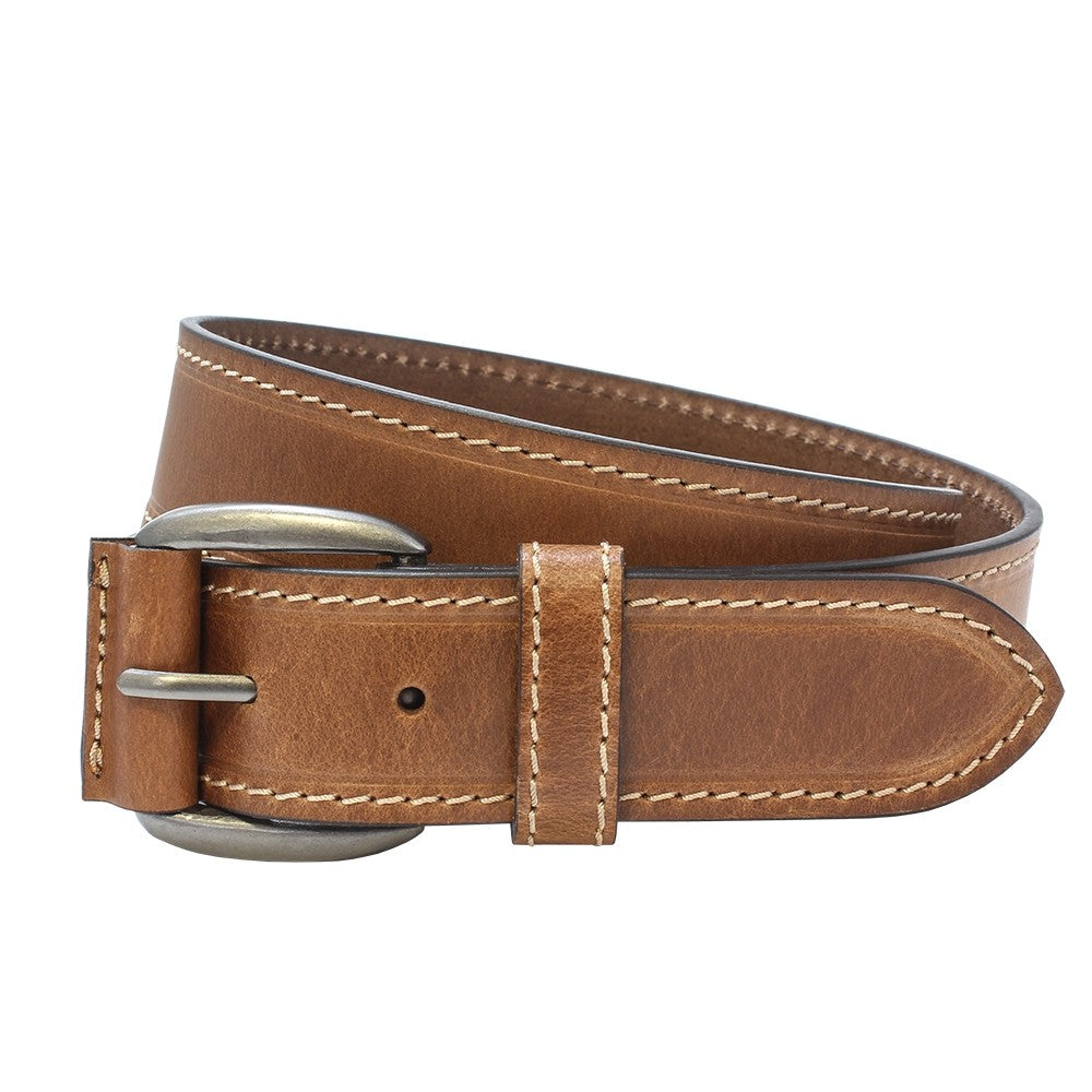 Sophos 40mm Stitched Leather Jeans Belt - Tan