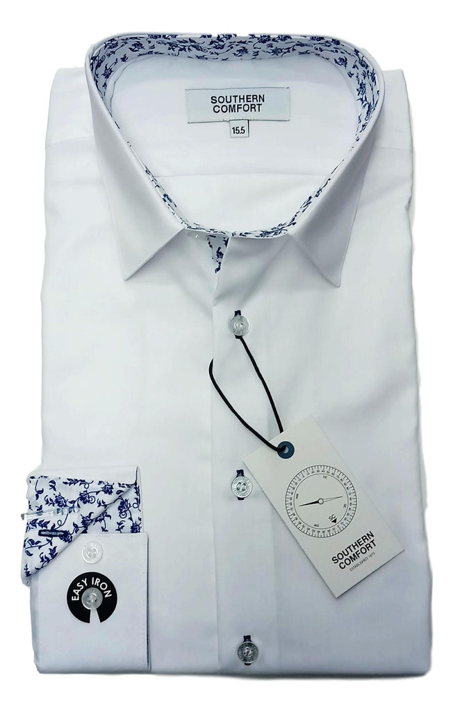 Southern Comfort Tapered Fit White Shirt